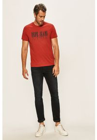 Czerwony t-shirt Pepe Jeans casualowy, z nadrukiem, na co dzień
