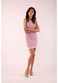Różowa sukienka wizytowa Nommo bez rękawów, mini