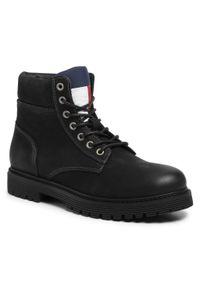 Czarne trapery Tommy Jeans klasyczne, z cholewką
