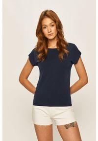 Niebieska bluzka Morgan z krótkim rękawem, casualowa, z okrągłym kołnierzem