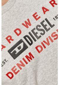 Szara bluza nierozpinana Diesel casualowa, z nadrukiem, na co dzień