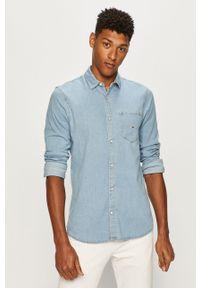 Niebieska koszula Tommy Jeans długa, klasyczna, z klasycznym kołnierzykiem