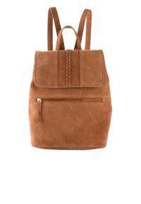 Plecak skórzany bonprix koniakowy. Kolor: brązowy. Materiał: skórzane