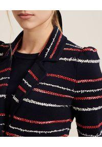 Luisa Spagnoli - LUISA SPAGNOLI - Granatowa marynarka Matrice. Kolor: czerwony. Materiał: dzianina, wełna. Długość rękawa: długi rękaw. Długość: długie. Styl: klasyczny