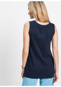 Długi top bonprix ciemnoniebieski. Kolor: niebieski. Długość: długie. Styl: elegancki