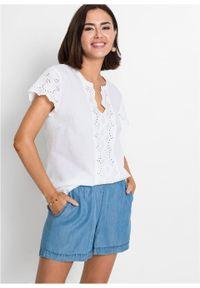 Bluzka z ażurowym haftem bonprix biel wełny. Kolor: biały. Materiał: wełna. Długość rękawa: krótki rękaw. Długość: krótkie. Wzór: haft, ażurowy
