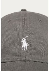 Szara czapka z daszkiem Polo Ralph Lauren z aplikacjami