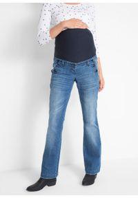 Niebieskie jeansy bonprix moda ciążowa