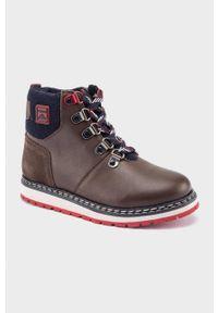 Brązowe buty zimowe Mayoral z cholewką, na zamek, z okrągłym noskiem, na zimę