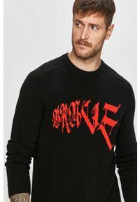 Czarny sweter Diesel z aplikacjami, casualowy, z długim rękawem