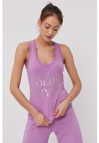 Fioletowy top Deha casualowy, na co dzień, na ramiączkach, z nadrukiem