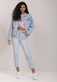 Renee - Jasnoniebieska Kurtka Cedi. Okazja: na co dzień. Kolor: niebieski. Materiał: jeans. Styl: casual