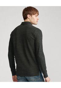 Ralph Lauren - RALPH LAUREN - Szara koszulka polo Custom Slim Fit. Typ kołnierza: polo. Kolor: szary. Materiał: bawełna, prążkowany. Długość rękawa: długi rękaw. Długość: długie. Wzór: haft
