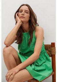 mango - Mango - Sukienka MIKONOS. Kolor: zielony. Materiał: tkanina, materiał, bawełna. Wzór: gładki. Typ sukienki: rozkloszowane