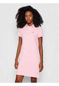 Różowa sukienka dzianinowa Polo Ralph Lauren polo, prosta, casualowa, na co dzień
