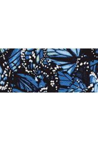 TOP SECRET - Wzorzysta bluzka z falbaną przy rękawie. Okazja: na co dzień. Kolor: niebieski. Materiał: materiał. Sezon: jesień. Styl: casual