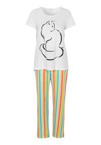 Biała piżama Cellbes w paski, długa