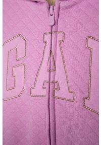 Fioletowa bluza rozpinana GAP z kapturem, z aplikacjami, casualowa, na co dzień