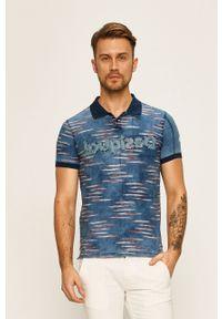 Niebieska koszulka polo Desigual polo, krótka, casualowa