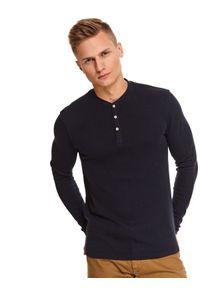 Niebieski t-shirt TOP SECRET z długim rękawem, długi