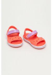 Pomarańczowe sandały Crocs na obcasie, na średnim obcasie, na rzepy