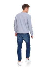 TOP SECRET - Bluza gładka. Okazja: na spacer. Kolor: szary. Materiał: materiał, jeans. Długość rękawa: długi rękaw. Długość: długie. Wzór: gładki. Sezon: wiosna. Styl: klasyczny