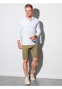 Ombre Clothing - Longsleeve męski bez nadruku L132 - biały - XXL. Typ kołnierza: polo. Kolor: biały. Materiał: bawełna, materiał, jeans. Długość rękawa: długi rękaw. Wzór: ze splotem #2