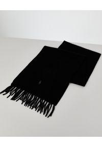 Ralph Lauren - RALPH LAUREN - Czarny szalik z kaszmiru. Kolor: czarny. Materiał: kaszmir. Wzór: haft. Styl: klasyczny