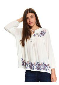 Biała bluzka TOP SECRET w kwiaty, na co dzień