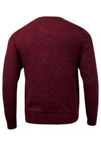 Czerwony sweter Adriano Guinari klasyczny, z klasycznym kołnierzykiem, do pracy
