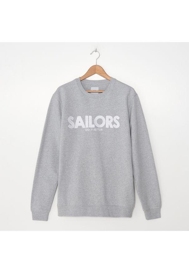 House - Bluza z haftem SAILORS - Jasny szary. Kolor: szary. Wzór: haft