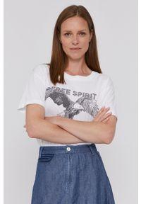 Mos Mosh - T-shirt bawełniany. Okazja: na co dzień. Kolor: biały. Materiał: bawełna. Wzór: nadruk. Styl: casual