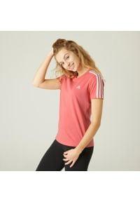 Adidas - Koszulka krótki rękaw fitness. Materiał: bawełna. Długość rękawa: krótki rękaw. Długość: krótkie. Wzór: paski. Sport: fitness