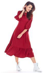 Awama - Bordowa Rozkloszowana Midi Sukienka z Bufiastym Rękawem 3/4. Kolor: czerwony. Materiał: poliester, elastan. Długość: midi