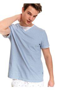 Niebieski t-shirt TOP SECRET z kontrastowym kołnierzykiem, casualowy