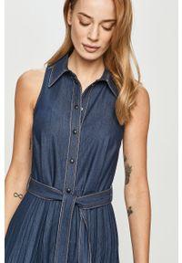 Niebieska sukienka casualowa, na co dzień, bez rękawów, maxi