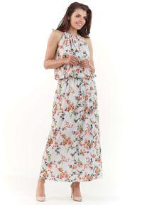 Szara sukienka na imprezę Lou-Lou na lato, w kwiaty, maxi