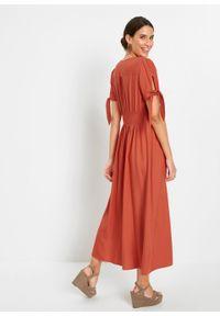 Sukienka z wiskozy bonprix czerwony cynamonowy. Kolor: czerwony. Materiał: wiskoza