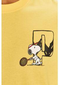 Żółty t-shirt Puma na co dzień, z nadrukiem, casualowy