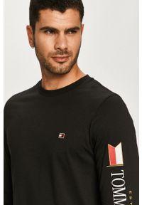 Czarna koszulka z długim rękawem TOMMY HILFIGER na co dzień, casualowa