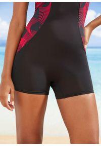 Kostium kąpielowy z nogawkami, z szybko schnącego materiału bonprix czarno-różowy z nadrukiem. Kolor: czarny. Materiał: materiał. Długość: krótkie. Wzór: nadruk