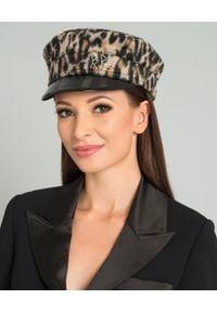 RUSLAN BAGINSKIY - Kaszkiet z wełny. Kolor: brązowy. Materiał: wełna. Wzór: motyw zwierzęcy. Styl: elegancki