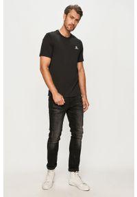 Czarny t-shirt Converse casualowy, z nadrukiem