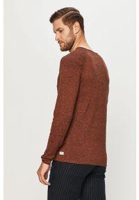 Brązowy sweter PRODUKT by Jack & Jones na co dzień, długi