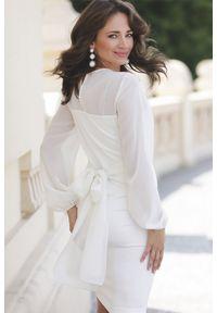 Lenitif - Elegancka sukienka z półprzezroczystą górą i rękawami ecru. Typ kołnierza: kokarda. Długość rękawa: długi rękaw. Styl: elegancki