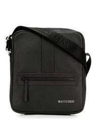 Wittchen - Męska listonoszka skórzana stębnowana mała. Kolor: wielokolorowy, czarny, brązowy. Materiał: skóra. Styl: casual, klasyczny, elegancki, sportowy