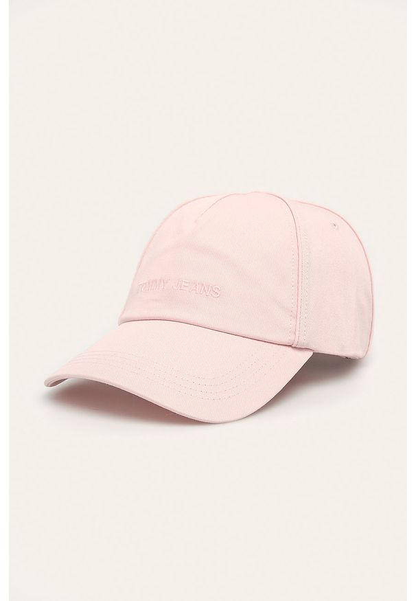 Różowa czapka z daszkiem Tommy Jeans z aplikacjami