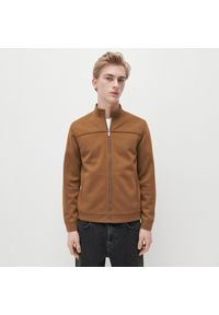 Reserved - Dzianinowa bluza ze stójką - Brązowy. Typ kołnierza: kołnierzyk stójkowy. Kolor: brązowy. Materiał: dzianina