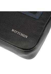 Wittchen - Męska listonoszka skórzana stębnowana średnia. Kolor: wielokolorowy, czarny, niebieski. Materiał: skóra. Styl: casual, klasyczny, elegancki