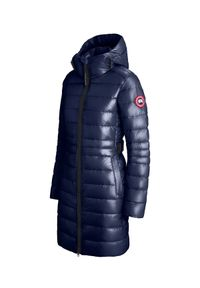 CANADA GOOSE - Granatowa kurtka z kapturem Cypress. Typ kołnierza: kaptur. Kolor: niebieski. Materiał: puch. Długość rękawa: długi rękaw. Długość: długie. Wzór: aplikacja